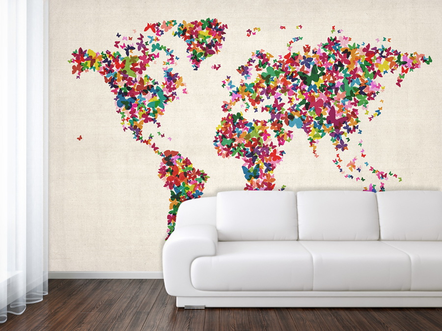 MapsInternational 824744 WorldMapWallpaperButterfl